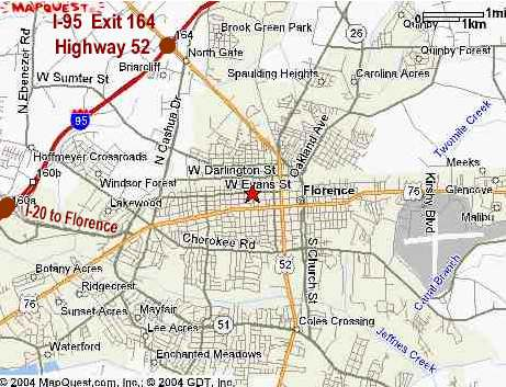 SC I Bed And Breakfast Directions Florence SC Bed And Breakfast - Interstate 95 north carolina map